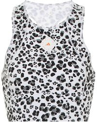 adidas By Stella McCartney Top raccourci Truepurpose à motif léopard - Noir