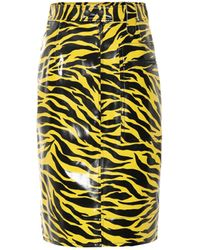 Kwaidan Editions Tiger-print Vinyl Skirt - Yellow