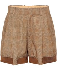 Chloé Checked Stretch-cotton Shorts - Brown