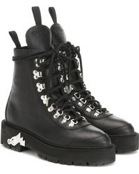 Off-White c/o Virgil Abloh Leather Ankle Boots - Black