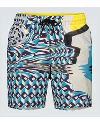 Dries Van Noten Printed Swim Shorts - Blue