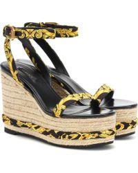 Versace Wedge-Sandalen aus Canvas - Gelb