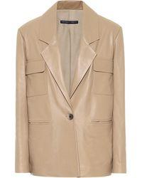 Zeynep Arcay Leather Blazer - Natural