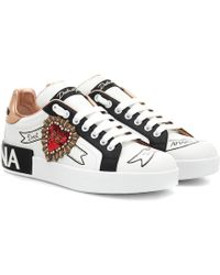 Dolce & Gabbana Sneakers Portofino In Vitello Nappato Stampato Con Patch Ricamo - Bianco