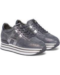 Hogan Sneakers Midi Platform aus Veloursleder - Grau