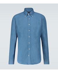 Thom Sweeney Cotton Chambray Long-sleeved Shirt - Blue