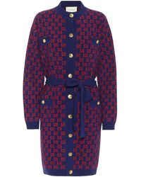 Gucci GG Print Belted Cardigan - Blue