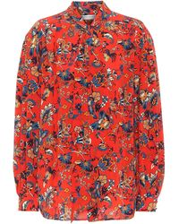 Givenchy Floral-print Pussy-bow Blouse - Red