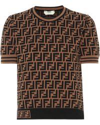 Fendi Logo Knit T-shirt - Brown