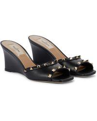 Valentino Garavani Rockstud Leather Wedge Sandals - Black
