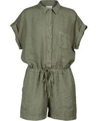 Velvet Geela Drawstring Linen Playsuit - Green