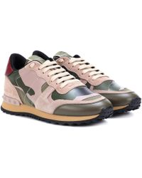 Valentino Rockrunner Mixed-material Camouflage Trainers - Green