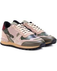 Valentino Sneakers Camouflage aus Leder - Grün