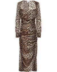 Ganni Leopard-print Stretch Silk-satin Midi Dress - Brown