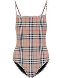 Burberry Vintage Check Swimsuit - Natural
