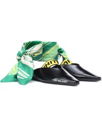 Off-White c/o Virgil Abloh Leather Scarf-tie Flats - Black