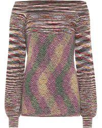 Missoni Off-Shoulder-Pullover aus Wolle - Mehrfarbig