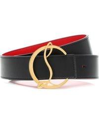 Christian Louboutin Exclusivo en Mytheresa - cinturón CL Logo de piel reversible - Multicolor