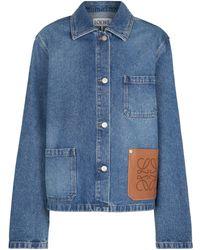Loewe Anagram Leather-trimmed Denim Jacket - Blue
