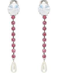 Miu Miu Exklusiv bei Mytheresa – Clip-Ohrringe mit Kristallen - Pink