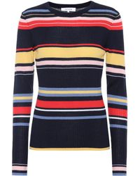 FRAME - Striped Ribbed Wool-blend Sweater - Lyst
