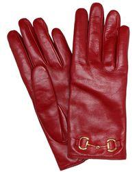 Gucci Guanti in pelle con morsetto - Rosso