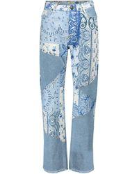 Etro Jean droit imprimé à taille haute - Bleu