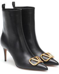 Valentino Garavani Vlogo Leather Boots - Black