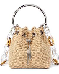 Jimmy Choo Bon Bon Raffia Bucket Bag - Natural