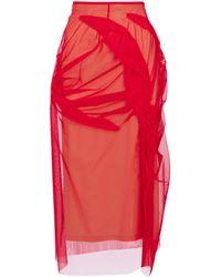Maison Margiela High-rise Tulle Midi Skirt - Red