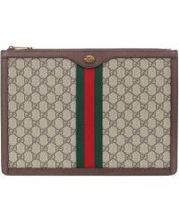 Gucci - Pochette en cuir imprimé GG Supreme Portfolio - Lyst