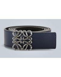Loewe Anagram Leather Belt - Blue