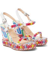 Christian Louboutin Pyraclou 110 Embellished Wedge Sandals - Multicolour
