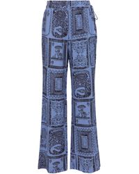 Acne Studios Printed High-rise Wide-leg Pants - Blue