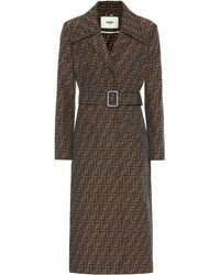 Fendi Ff Canvas Trench Coat - Brown