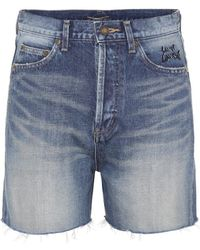 Saint Laurent Shorts di jeans a vita alta - Blu