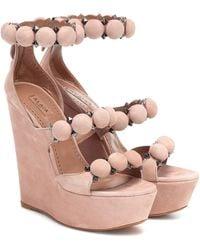 Alaïa Wedge-Sandalen Bombe aus Veloursleder - Pink