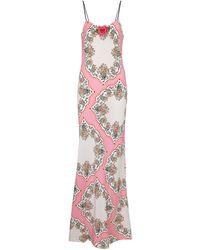 Rodarte Bedrucktes Slipdress aus Seide - Pink