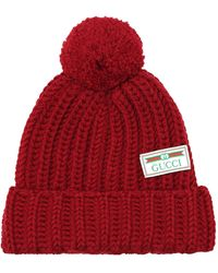Gucci Ribbed-knit Wool Beanie - Red