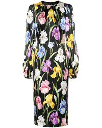 Dolce & Gabbana - Floral Silk Dress - Lyst