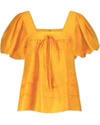 Lee Mathews Canary Linen And Silk Top - Yellow