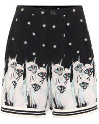 Undercover Printed Rayon Shorts - Black