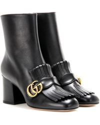 Gucci Marmont Leather Ankle Boots - Black