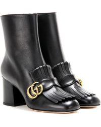Gucci Ankle Boots Marmont aus Leder - Schwarz
