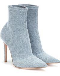 Gianvito Rossi Elite Denim Ankle Boots - Blue