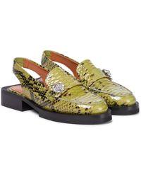 Ganni Loafers aus Leder - Grün
