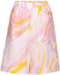 Emilio Pucci Printed Cotton And Silk Shorts - Pink