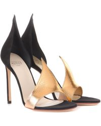 Francesco Russo - Phard Suede And Snakeskin Sandals - Lyst