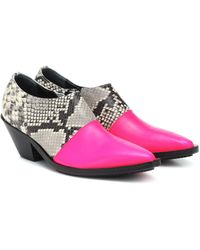 Junya Watanabe Snake-effect Leather Ankle Boots - Pink