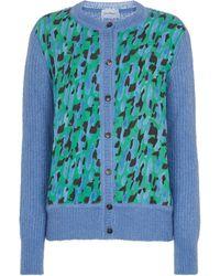 Ferragamo Panelled Mohair-blend Cardigan - Green
